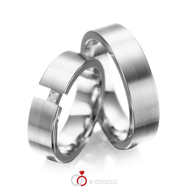 Paar klassische Trauringe/Eheringe in Weißgold 585 mit zus. 0,05 ct. Prinzess-Diamant tw, si von acredo - A-1025-15