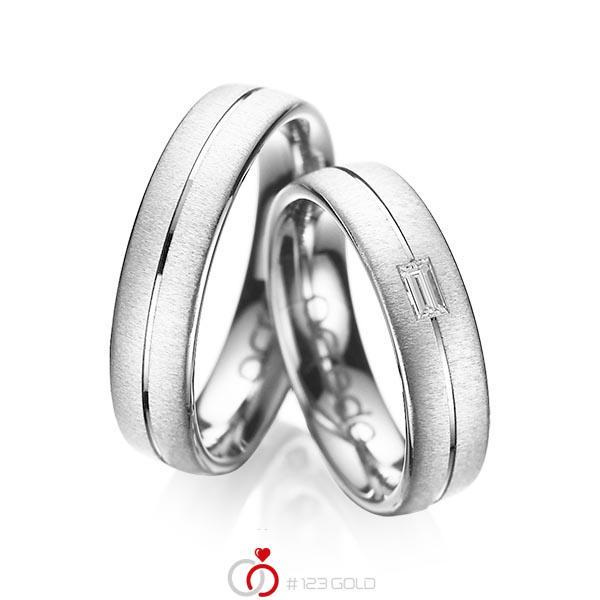 Paar klassische Trauringe/Eheringe in Weissgold 585 mit zus. 0,12 ct. Baguette-Diamant tw, vs von acredo - A-1019-13
