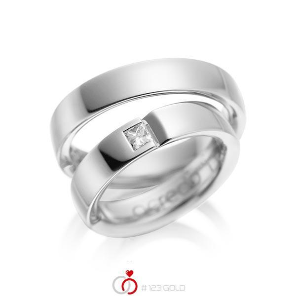 Paar klassische Trauringe/Eheringe in Weißgold 585 mit zus. 0,15 ct. Prinzess-Diamant tw, si von acredo - A-1029-1