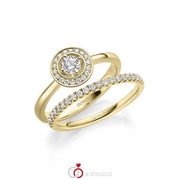Ring-Set in Gelbgold 585 mit zus. 0,51 ct. Brillant tw, si von acredo - A-2158-2