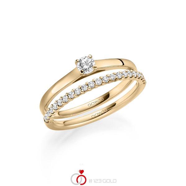 Ring-Set in Roségold 585 mit zus. 0,36 ct. Brillant tw, si von acredo - A-2123-4