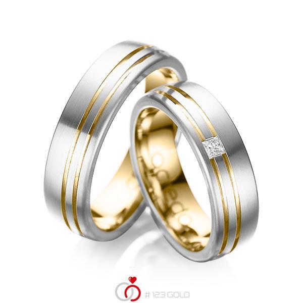 Set Bicolor trouwringen in buiten platina 950 , binnen geelgoud 18 kt. met in totaal 0,05 ct. Princess-Diamant tw/si van acredo - A-1040-8