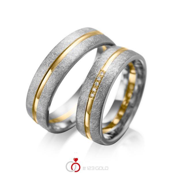 Set Bicolor trouwringen in dark grey gold 14 kt. geelgoud 14 kt. met in totaal 0,025 ct. Briljant tw/si van acredo - A-1007-14