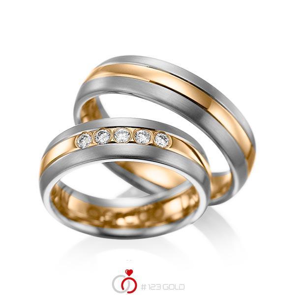 Set Bicolor trouwringen in dark grey gold 14 kt. roségoud 14 kt. met in totaal 0,2 ct. Briljant tw/si van acredo - A-1001-14