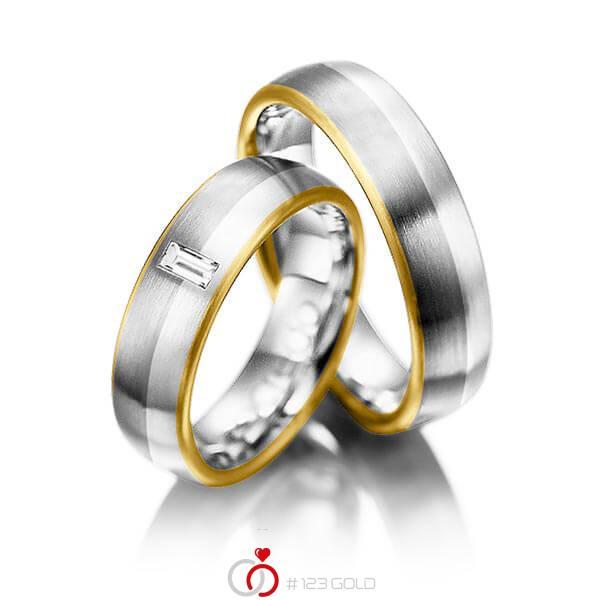 Set Bicolor trouwringen in geelgoud 18 kt. grijsgoud 18 kt. palladium 950 met in totaal 0,1 ct. Baguette-Diamant tw,vs van acredo - A-1002-2