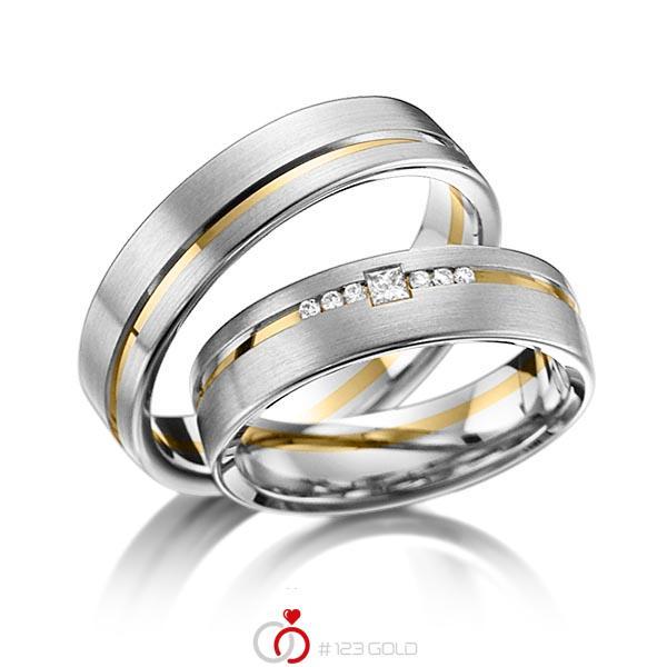 Set Bicolor trouwringen in grijsgoud 14 kt. geelgoud 14 kt. met in totaal 0,098 ct. Briljant & Princess-Diamant tw/si van acredo - A-6013-6