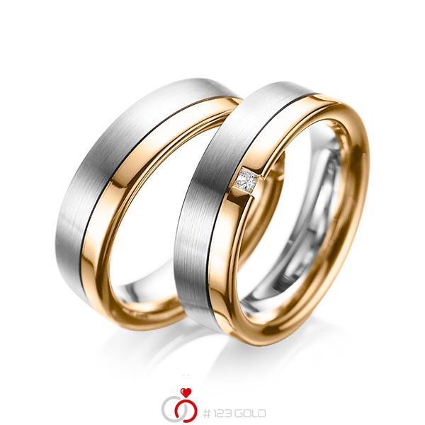 Set Bicolor trouwringen in grijsgoud 14 kt. roségoud 14 kt. met in totaal 0,04 ct. Princess-Diamant tw/si van acredo - A-1064-7