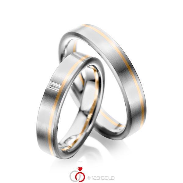Set Bicolor trouwringen in grijsgoud 14 kt. roségoud 14 kt. met in totaal 0,05 ct. Baguette-Diamant tw,vs van acredo - A-1022-2