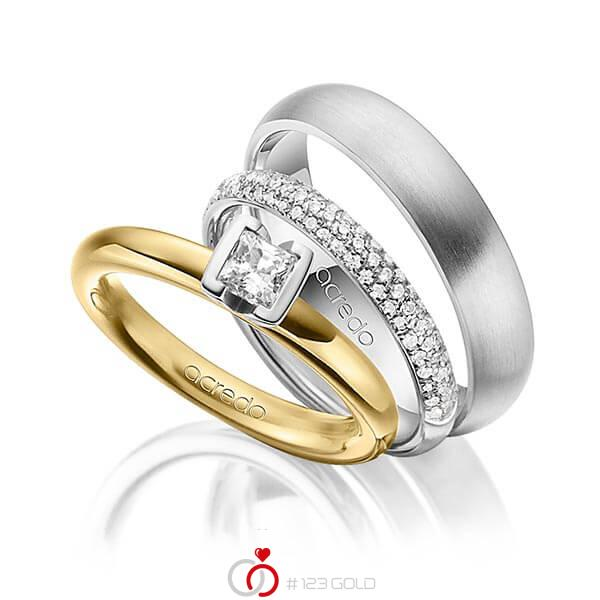 Set in geelgoud 14 kt. met 0,4 ct. + in totaal 0,38 ct. Princess-Diamant & Briljant tw,vs tw/si van acredo - A-1435-10