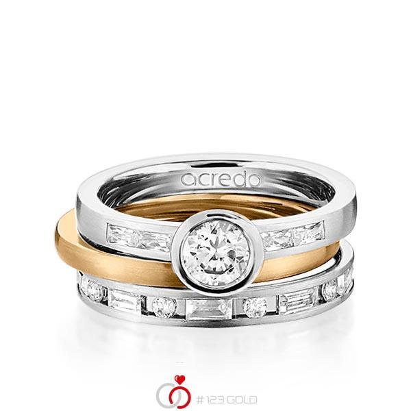 Set in Graugold 585 mit 0,5 ct. + zus. 1,005 ct. Brillant & Baguette-Diamant tw, si tw, vs von acredo - A-1441-11
