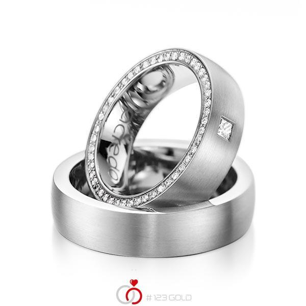 Set klassieke Memoire-trouwringen in grijsgoud 14 kt. volledig gezet met in totaal 0,355 ct. Princess-Diamant & Briljant tw,vs tw/si van acredo - A-1071-4