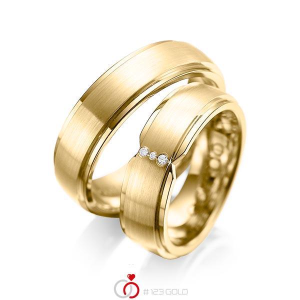 Set Klassieke trouwringen in buiten geelgoud 14 kt. , binnen geelgoud 14 kt. met in totaal 0,025 ct. Briljant tw/si van acredo - A-1063-8