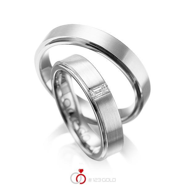 Set Klassieke trouwringen in buiten platina 950 , binnen platina 950 met in totaal 0,12 ct. Baguette-Diamant tw,vs van acredo - A-1054-3