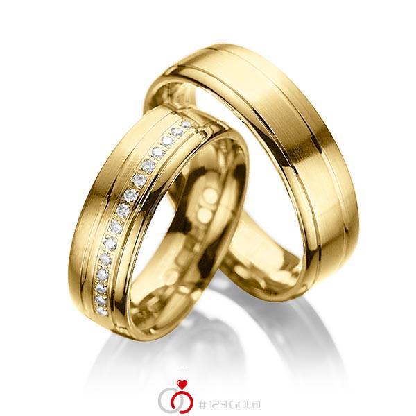 Set Klassieke trouwringen in geelgoud 14 kt. met in totaal 0,15 ct. Briljant tw/si van acredo - A-1034-4