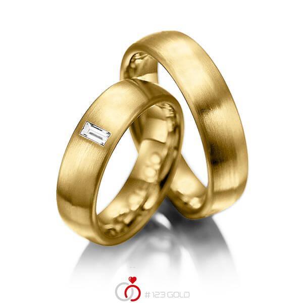 Set klassieke trouwringen in geelgoud 14 kt. met in totaal 0,1 ct. Baguette-Diamant tw,vs van acredo - A-1002-5