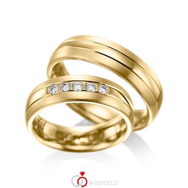 Set Klassieke trouwringen in geelgoud 14 kt. met in totaal 0,2 ct. Briljant tw/si van acredo - A-1001-4