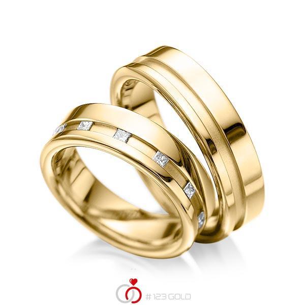 Set Klassieke trouwringen in geelgoud 14 kt. met in totaal 0,36 ct. Princess-Diamant tw/si van acredo - A-1024-4