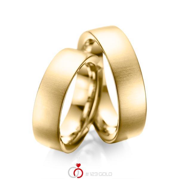 Set klassieke trouwringen in geelgoud 14 kt. van acredo - A-1084-1