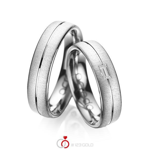 Set Klassieke trouwringen in grijsgoud 14 kt. met in totaal 0,12 ct. Baguette-Diamant tw,vs van acredo - A-1019-4