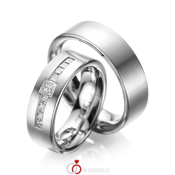 Set klassieke trouwringen in grijsgoud 14 kt. met in totaal 0,52 ct. Princess-Diamant tw/si van acredo - A-1050-4