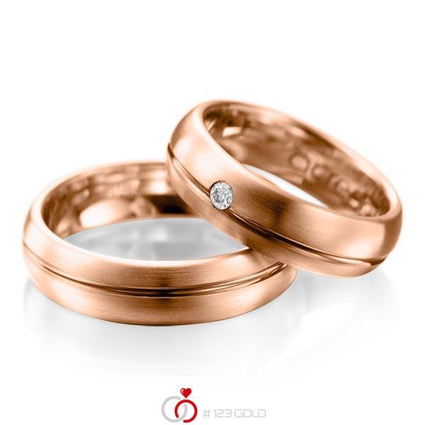 Set Klassieke trouwringen in roodgoud 14 kt. met in totaal 0,06 ct. Briljant tw/si van acredo - A-1003-7