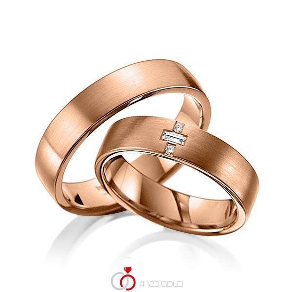 Set klassieke trouwringen in roodgoud 14 kt. met in totaal 0,07 ct. Briljant & Baguette-Diamant tw,vs van acredo - A-6008-4