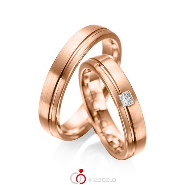 Set Klassieke trouwringen in roodgoud 14 kt. met in totaal 0,08 ct. Princess-Diamant tw/si van acredo - A-1018-12