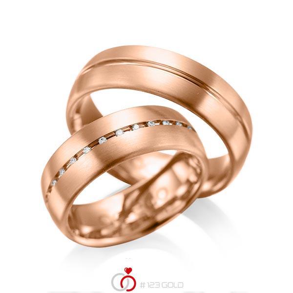 Set Klassieke trouwringen in roodgoud 14 kt. met in totaal 0,145 ct. Briljant tw/si van acredo - A-1012-7