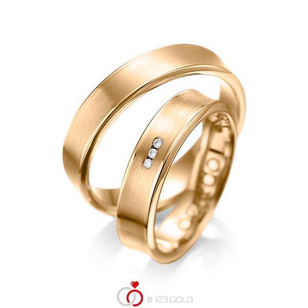 Set Klassieke trouwringen in roségoud 14 kt. met in totaal 0,03 ct. Briljant tw/si van acredo - A-1055-8