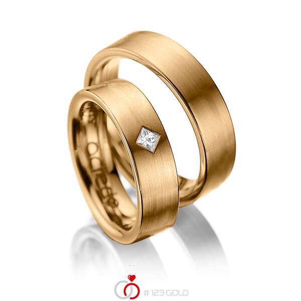 Set klassieke trouwringen in roségoud 14 kt. met in totaal 0,1 ct. Princess-Diamant tw/si van acredo - A-1020-3