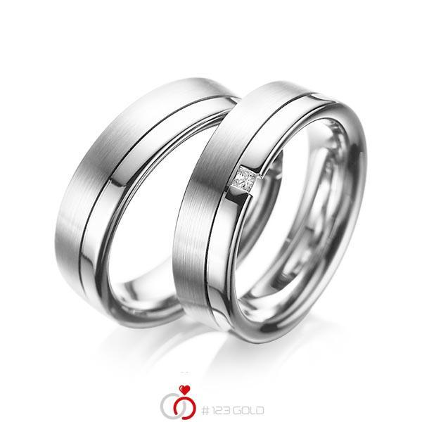 Set Klassieke trouwringen in witgoud 14 kt. met in totaal 0,04 ct. Princess-Diamant tw/si van acredo - A-1064-13