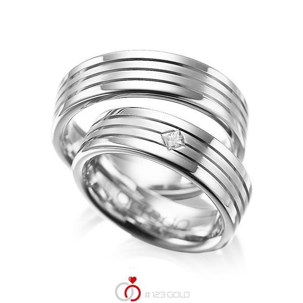 Set Klassieke trouwringen in witgoud 14 kt. met in totaal 0,08 ct. Princess-Diamant tw/si van acredo - A-1023-12