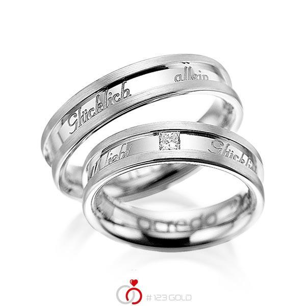 Set Klassieke trouwringen in witgoud 14 kt. met in totaal 0,1 ct. Princess-Diamant tw/si van acredo - A-1049-1