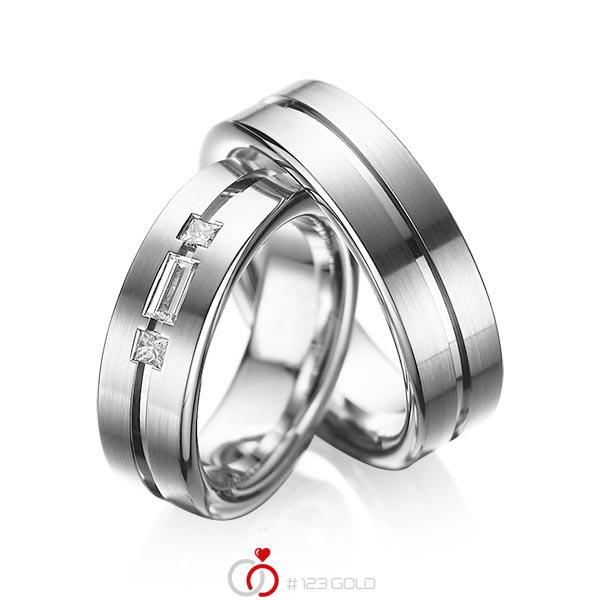 Set Klassieke trouwringen in witgoud 14 kt. met in totaal 0,22 ct. Baguette-Diamant & Princess-Diamant tw,vs van acredo - A-1011-6