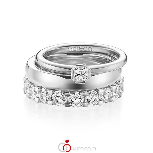 Triset in witgoud 18 kt. met in totaal 3,29 ct. Princess-Diamant & Briljant tw/si tw,vs van acredo - A-1236-13