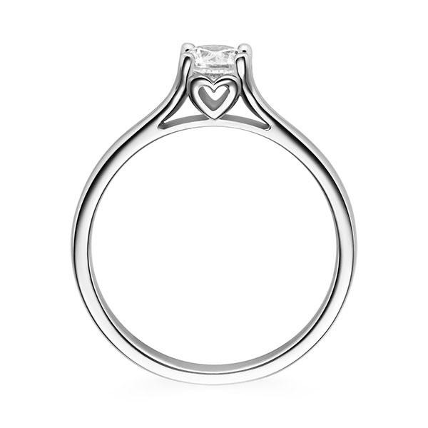 Diamantring Cordial 4 Krappen mit Herzdetail, Breite: 2,40, Höhe: 1,50