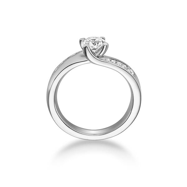 Diamantring mit seitlichem Steinbesatz